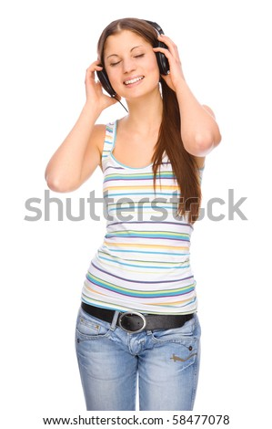 Full isolated portrait of a beautiful caucasian woman listen to the music - stock photo