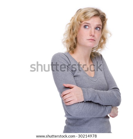 Full isolated portrait of a unlucky caucasian woman - stock photo