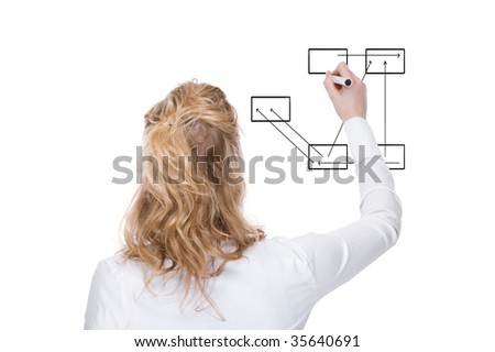 Full isolated studio picture from a  businesswoman  drawing some graphics - stock photo
