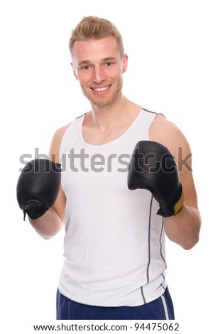Full isolated studio picture from a young boxer - stock photo