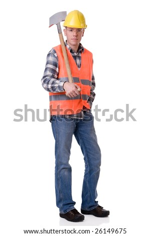 Full isolated studio picture from a young construction worker with a spate - stock photo