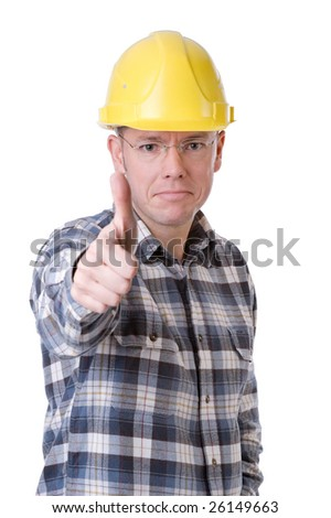 Full isolated studio picture from a young construction worker with thumbs up - stock photo