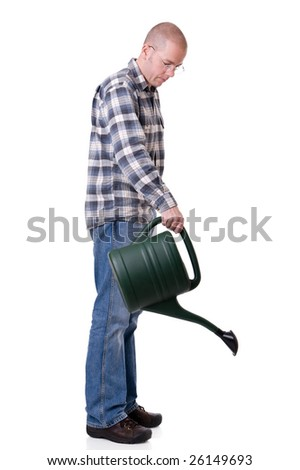 Full isolated studio picture from a young  gardener with a watering can - stock photo