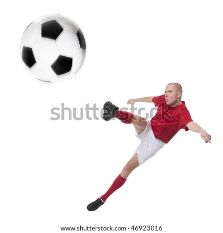 Full isolated studio picture from a young soccer player with ball - stock photo