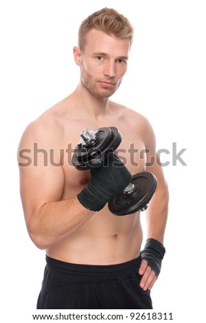 Full isolated studio picture from a young sporty man - stock photo