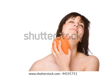 Full isolated studio picture from a young woman cleaning her body - stock photo