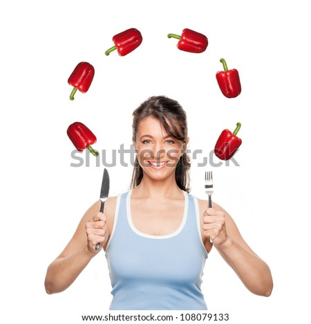 Full isolated woman with pepper - stock photo