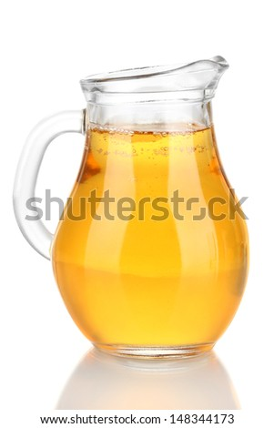 Full jug of apple juice, isolated on white - stock photo