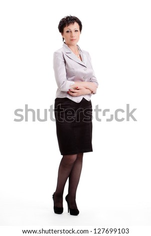 full lenght portrait of adult businesswoman over white background - stock photo