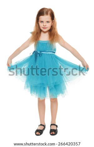 Full length a adorable little girl in blue dress, isolated on the white background - stock photo