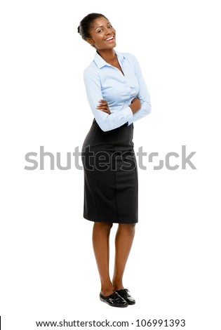 Full length African American Attractive young businesswoman on white background - stock photo