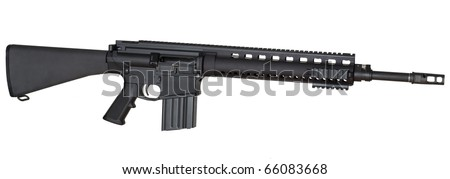 Full length assault rifle that is isolated on a white background - stock photo
