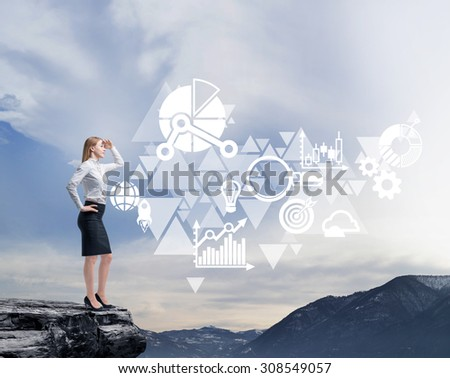 Full length beautiful woman in formal clothes on the rock. She is thinking about future business opportunities. - stock photo