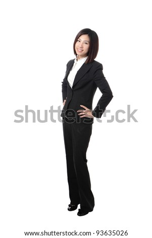 Full length Business woman confident smile standing isolated on white background, model is a asian beauty - stock photo