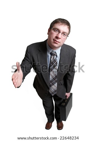 Full length businessman offering handshake isolated on white - stock photo