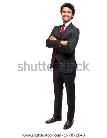 Full length businessman on white background - stock photo