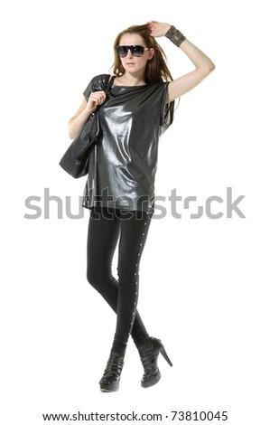 Full length casual fashion sexy woman in sunglasses, posing with handbag - stock photo