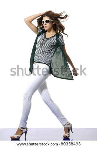 Full length casual fashion woman wearing modern sunglasses posing - stock photo