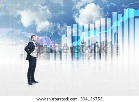 Full-length confident person in formal suit. A sketch of New York city and forex chart on the background. A concept of the asset management. - stock photo