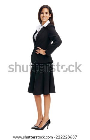 full length corporate businesswoman isolated on white - stock photo