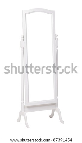 Full length dressing mirror on stand. Folding free-standing mirror isolated over white. With clipping path. - stock photo