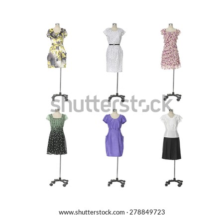 full-length evening gown clothing on six mannequin  - stock photo