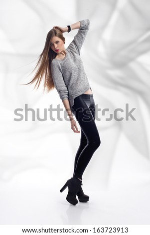 full-length fashion girl on high heels - stock photo