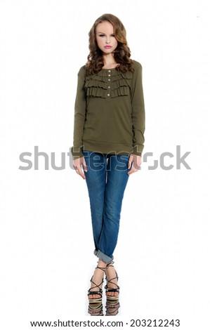 Full length fashion model posing in jeans  - stock photo