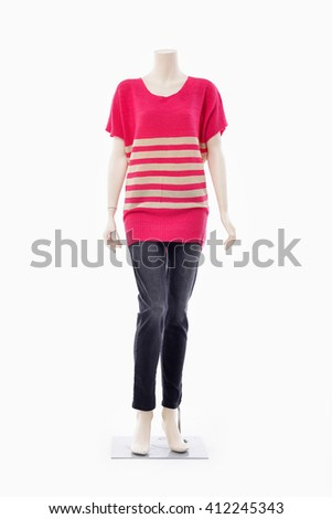 full-length female clothing in red dress on mannequin-white background - stock photo