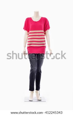 full-length female clothing in red dress on mannequin-white background - stock photo