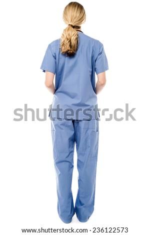 Full length female doctor from back - stock photo