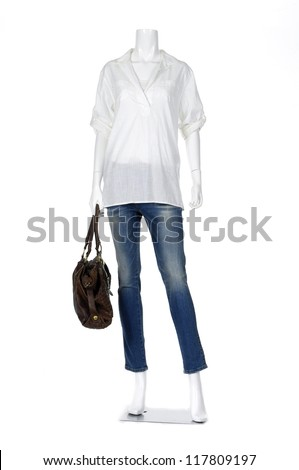 Full length female mannequin shirt dressed in jeans with bag - stock photo