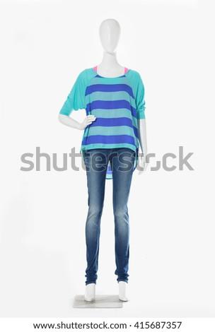 Full length female mannequin striped shirt dressed in jeans    - stock photo