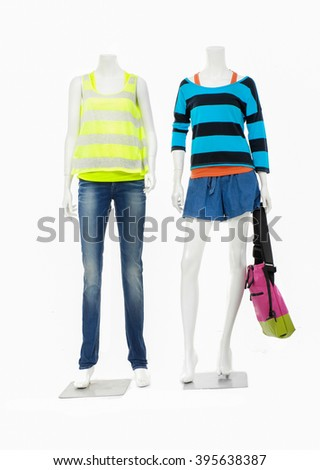 full-length female mannequin two colorful shirt dressed in jeans - stock photo