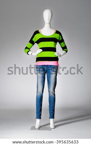 full-length female mannequin with jeans - stock photo