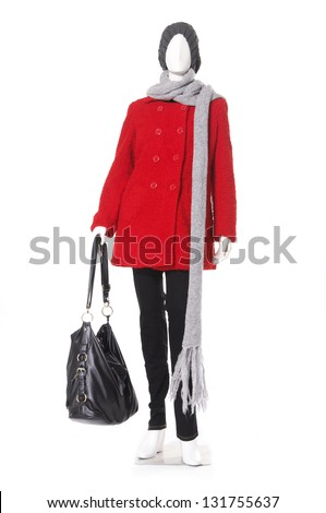 full length female red coat with hat and bag on a mannequin - stock photo