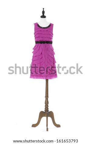 full-length female red evening dress on a dummy isolated on a white background  - stock photo