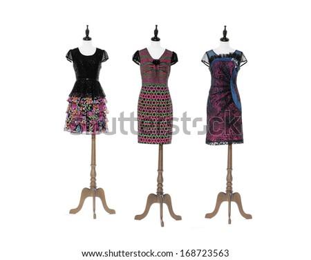 full-length female sundress on three dummy   - stock photo