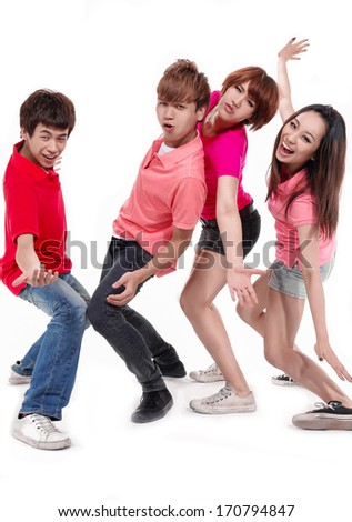 Full length Group of happy friends with arms up - stock photo