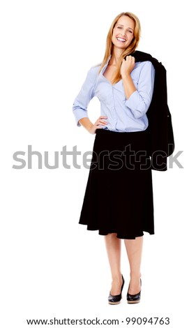 full length happy smiling business woman isolated on white - stock photo