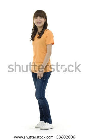 Full length image of a cute smiling asian posing - stock photo