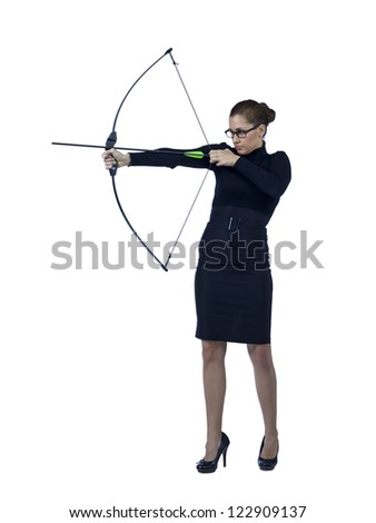 Full length image of a determined businesswoman aiming her bow to the target - stock photo