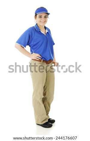 Full-length image of a pretty teen fast-food employee.  On a white background. - stock photo