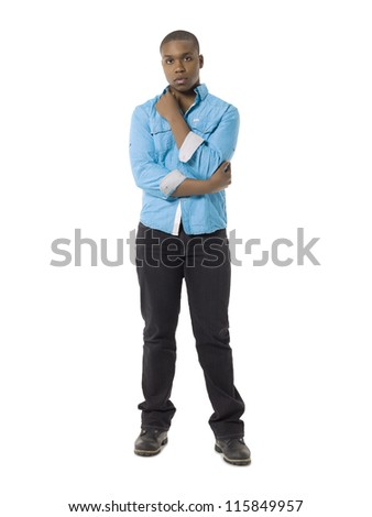 Full length image of an African american model in casual attire - stock photo