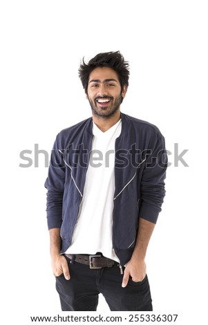 Full-length image of an Indian man wearing Polo t-shirt & Jeans. Isolated on White Background - stock photo