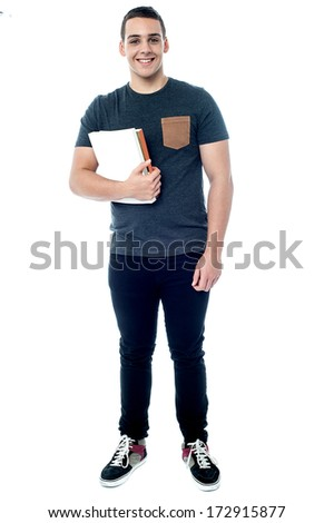 Full length image of handsome college student - stock photo