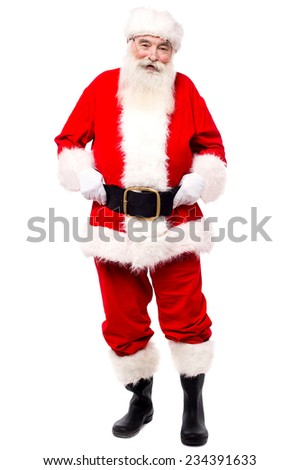 Full length image of santa claus standing over white - stock photo