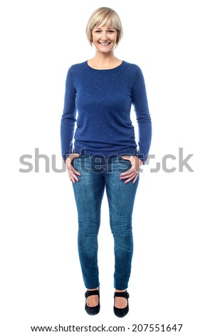 Full length image of smiling beautiful woman - stock photo