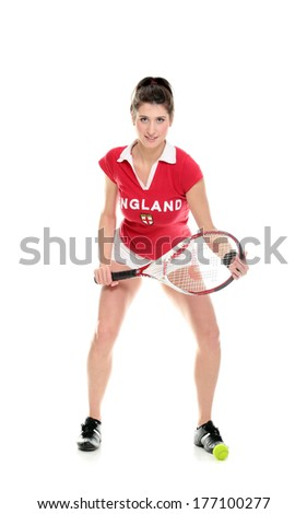 Full length isolated studio picture from a young woman with tennis racket - stock photo