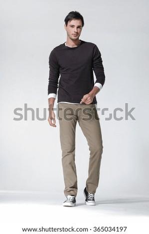 Full length mature casual man posing - stock photo